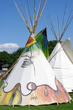 Tipi tent. Conical tipi tent traditionally used by the nomadic tribes of the Great Plains in Canada and the United States Stock Image