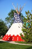 Tipi, traditional indian tent. Traditional indian tipi, in front of Buffalo Bill Museum in Cody, Wyoming, USA stock photography