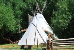 Tipi, traditional indian tent. Traditional indian tipi, in front of Buffalo Bill Museum in Cody, Wyoming, USA royalty free stock photos