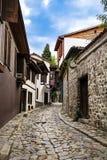 Tipical bulgarian kamienia ulica z kamiennymi domami Obraz Royalty Free