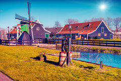 Tipical Dutch village Zaanstad Royalty Free Stock Image