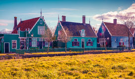 Tipical Dutch village Zaanstad in spring sunny day Royalty Free Stock Photo