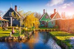 Tipical Dutch village Zaanstad in spring sunny morning Royalty Free Stock Photos