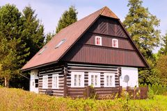 Tipical half-timbered cottage in the Giant Mountains Royalty Free Stock Photography