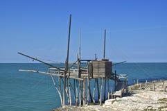 Tipical italian trabucco. Italian trabucco fishing net in Vieste Gargano Royalty Free Stock Photos