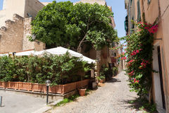 Tipical italiensk gata, alghero, Italien Arkivbilder
