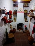 Tipical old Andalusian kitchen in Mijas Village, Spain. Stock Photography