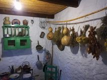 Tipical old Andalusian kitchen in Mijas Village, Spain. Royalty Free Stock Image