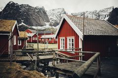 Scenic aerial view of fishing town Reine on Lofoten islands, Nor stock photography
