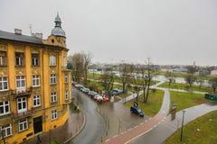 Tipical ulica w Krakow w zimie obrazy stock