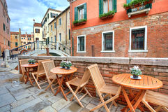 Tipical view on small street in Venice, Italy. Stock Photos