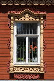 Tipical window of russian wooden house Stock Photography
