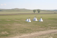 Tipis on the Great Plains. Five tipis set up on the Great Plains in North Dakota stock photos