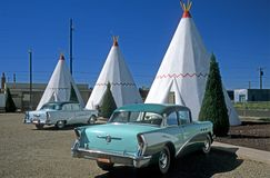 Tipis and Oldtimer 10. Oldtimer in front of motel with tipis, Holbrook, Arizona, USA Royalty Free Stock Photography