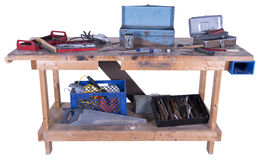 Tipo banco da caverna do homem de trabalho com as ferramentas, isoladas Imagens de Stock