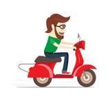 Tipo barbuto divertente che guida motorino rosso Progettazione piana Illustrazione di vettore Fotografia Stock
