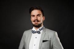 Tipo bello con la barba e baffi in vestito Immagine Stock Libera da Diritti
