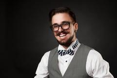 Tipo bello con la barba e baffi in vestito Fotografia Stock Libera da Diritti
