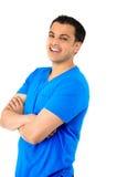 Tipo bello nella risata blu della camicia Immagine Stock