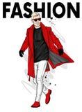 Tipo bello in vestiti alla moda hipster Illustrazione di vettore royalty illustrazione gratis
