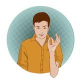 Tipo che mostra gesto d'approvazione con le sue mani Retro illustrazione di stile di Pop art Libri di fumetti d'imitazione Fotografia Stock