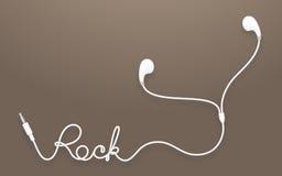 Tipo colore bianco di Earbud, delle cuffie e testo della roccia fatto da cavo Fotografia Stock