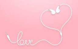 Tipo colore bianco di Earbud, delle cuffie e testo di amore fatto da cavo Fotografia Stock Libera da Diritti