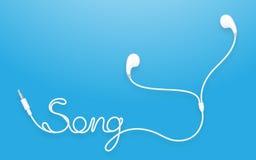 Tipo colore bianco di Earbud, delle cuffie e testo di canzone fatto da cavo Fotografia Stock