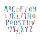 Tipo colorido letras manuscritas de la fuente de la acuarela de la acuarela del alfabeto del ABC del drenaje de la mano Fotografía de archivo