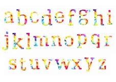Tipo colorido letras manuscritas de la fuente de la acuarela de la acuarela del alfabeto del ABC del garabato del drenaje de la m Imágenes de archivo libres de regalías