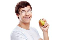 Tipo con il colpo in testa della mela Fotografia Stock Libera da Diritti