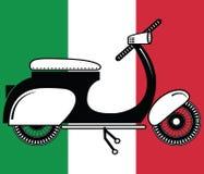 Tipo d'annata del motorino - 2 sul fondo italiano della bandiera Fotografia Stock