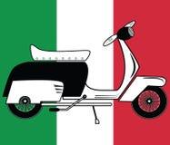 Tipo 1 d'annata del motorino sul fondo italiano della bandiera Fotografia Stock