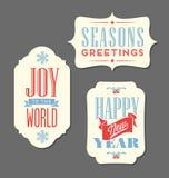 Tipo d'annata elementi delle etichette di festa di Natale di progettazione Fotografia Stock