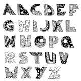 Tipo da garatuja do alfabeto inglês do vetor Imagens de Stock Royalty Free