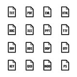 """Tipo de arquivo ícones: Textos, fontes e série do UL Bazza do †da disposição de página de """" ilustração do vetor"""