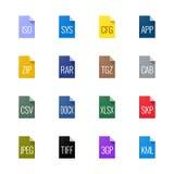 Tipo de arquivo ícones - variados ilustração stock