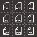 Tipo de arquivo preto grupo do vetor do ícone Imagens de Stock Royalty Free