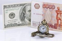 Tipo de cambio de la rublo al dólar Foto de archivo libre de regalías