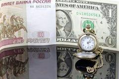 Tipo de cambio de la rublo al dólar Foto de archivo