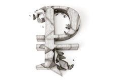 Tipo de cambio de la rublo rusa abajo representación 3D del símbolo de piedra destruido de la rublo en un fondo blanco Fotografía de archivo libre de regalías