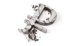 Tipo de cambio de la rublo rusa abajo representación 3D del símbolo de piedra destruido de la rublo en un fondo blanco Imagen de archivo