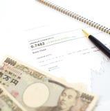 Tipo de cambio, yen japonés Fotografía de archivo libre de regalías