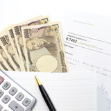 Tipo de cambio, yen japonés Fotografía de archivo