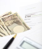 Tipo de cambio, yen japonés Foto de archivo