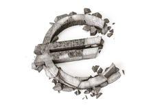 Tipo de cambio euro abajo representación 3D del símbolo de piedra destruido de la rublo en un fondo blanco Fotografía de archivo