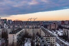 Tipo de edificios Vista de la ciudad de una altura Casa de la construcción fotografía de archivo