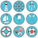 Tipo de elementos náutico - os ícones 1 ajustaram-se no círculo atado que inclui o sino do barco, barco, remos, leme, máscara do  ilustração royalty free