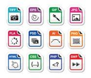 Tipo de fichero iconos del negro como escrituras de la etiqueta - gráficos, cifrando Imagen de archivo