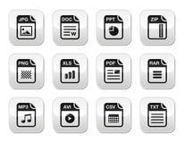 Tipo de fichero iconos del negro en los botones grises modernos fijados Imagenes de archivo